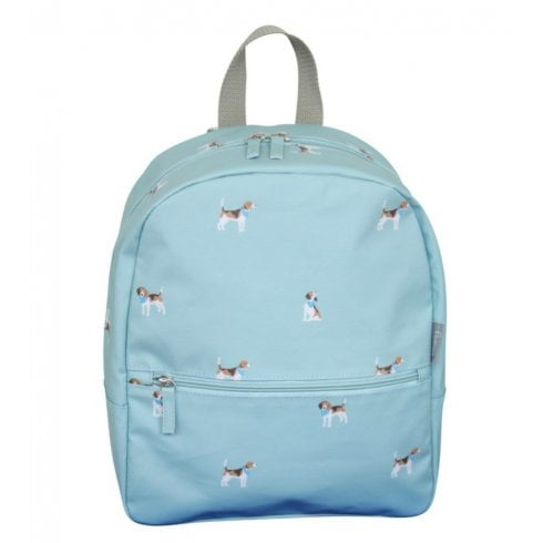 Peony Beagle Print Backpack - Duck Egg