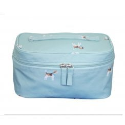 Beagle Print Beauty Case - Duck Egg