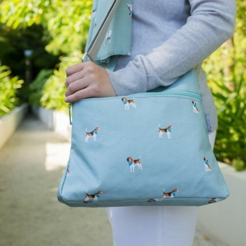 Peony Beagle Print Cross Body Bag - Duck Egg