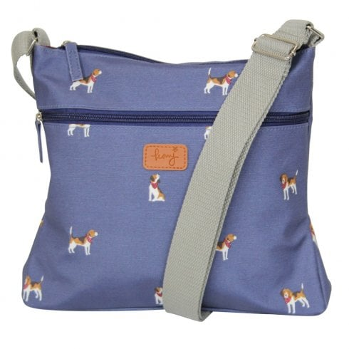Peony Beagle Print Cross Body Bag - Navy