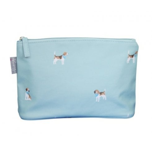 Peony Beagle Print Make Up Bag - Duck Egg