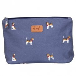 Beagle Print Make Up Bag - Navy