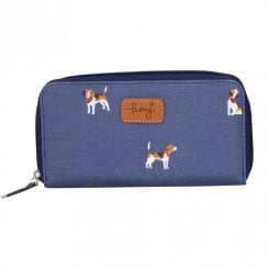 Beagle Print Purse - Navy