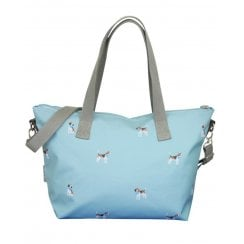 Beagle Print Tote Bag - Duck Egg