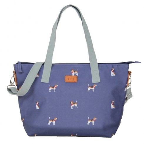 Peony Beagle Print Tote Bag - Navy DUE AUGUST
