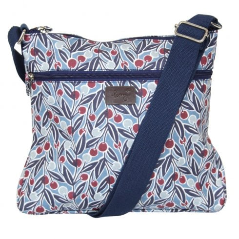 Peony Berries Print Cross Body Bag - Blue