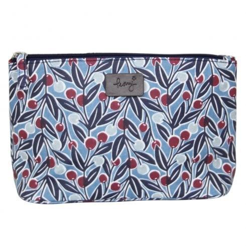 Peony Berries Print Make Up Bag - Blue