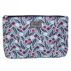 Berries Print Make Up Bag - Blue