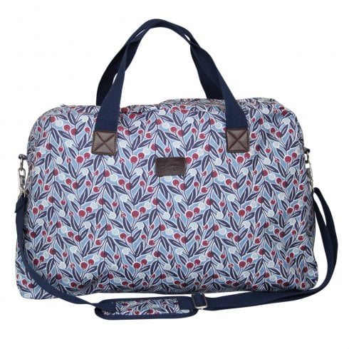 Peony Berries Print Weekend Bag - Blue