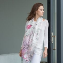 Butterfly & Birds Silk Scarf