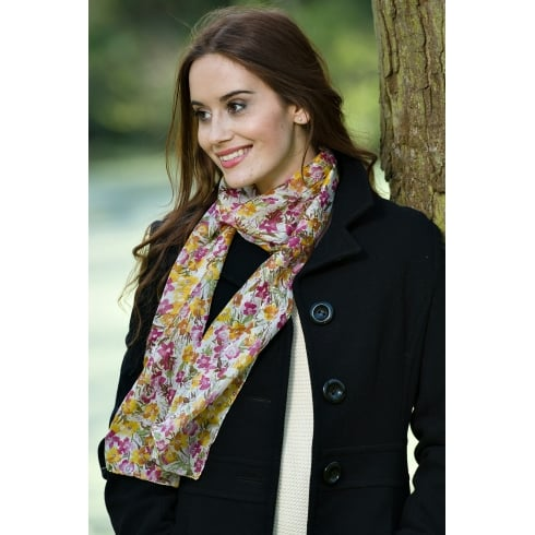 Peony Emily Floral Print Silk Scarf