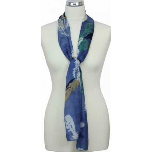 Peony Feather's Print Silk Scarf