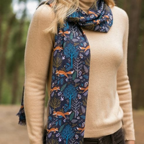 Peony Foxes Scarf