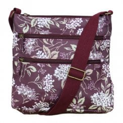 Hydrangea Print Cross Body Bag - Plum