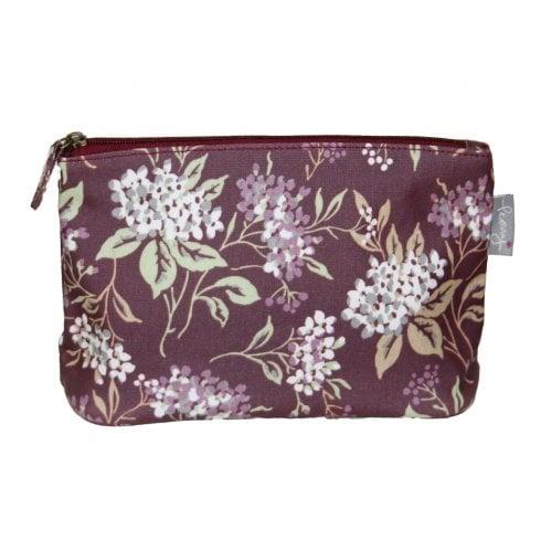 Peony Hydrangea Print Make Up Bag - Plum