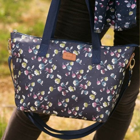 Peony Jasmine Navy Tote Bag