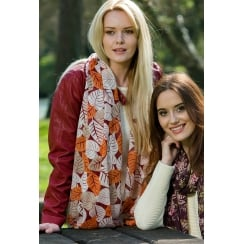 Large Leaves Design Print Scarf