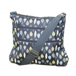 Leaves Print Cross Body Bag - Charcoal