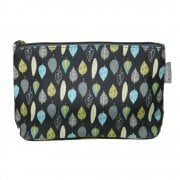 Leaves Print Make Up Bag - Charcoal
