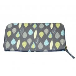 Leaves Print Purse - Charcoal