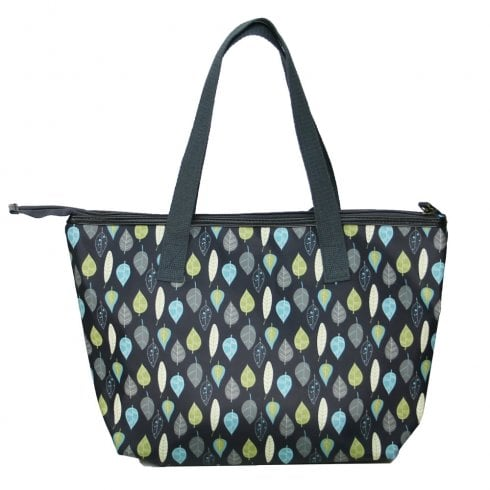 Peony Leaves Print Tote Bag - Charcoal