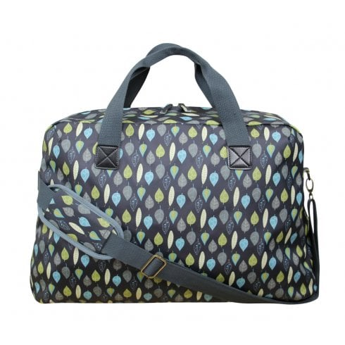 Peony Leaves Print Weekend Bag - Charcoal