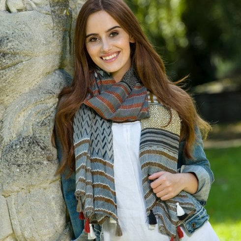 Peony London Aztec Multi Stripe Scarf