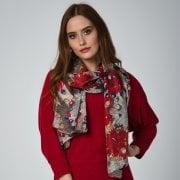Bold Floral Silk Scarf