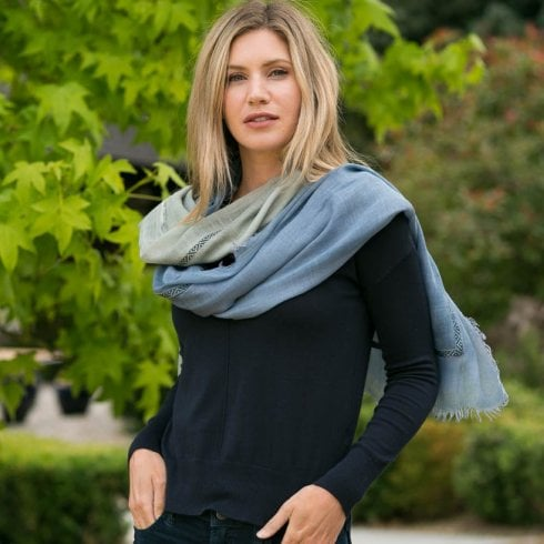 Peony London Dip Dye Large Scarf With Atached Trim