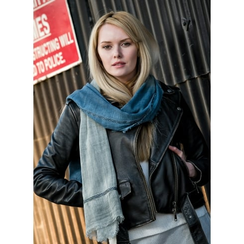 Peony London Dip Dye Scarf with Attached Strip - One Off Piece