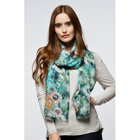 Peony London Flower Field Digital Print Scarf
