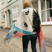 Hand Painted Girl & Rabbit Scarf
