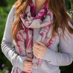 NEW IN Tropical Flower Print Scarf - Dk Rose