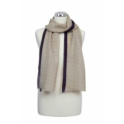 Peony London SALE - Wool Shawl - Edge Stripe Design