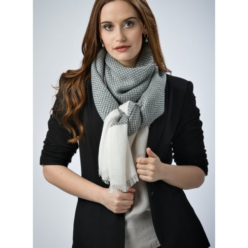 Peony London Wool Blend Shawl - Edge Stripe Design
