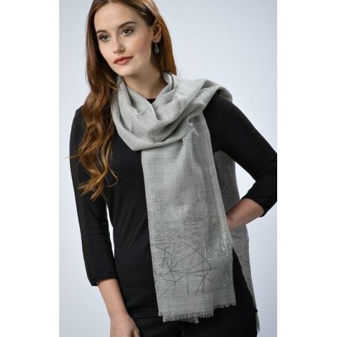 Peony London Wool/Silk Shawl - Foil Edge
