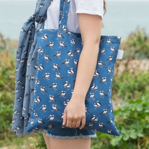 Peony Puffin Print Shopper Bag - Navy