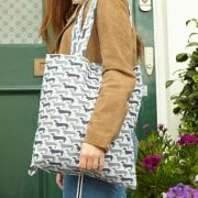 Sausage Dog Shopper Bag - Duck Egg