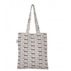Sausage Dog Shopper Bag - Plum