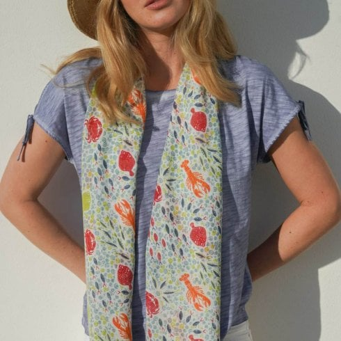 Peony Sea Life Print Scarf - Recycled Polyester