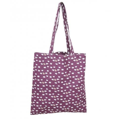 Peony Sheep Shopper Bag - Plum