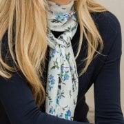 Silk Scarf - Birds & Flower