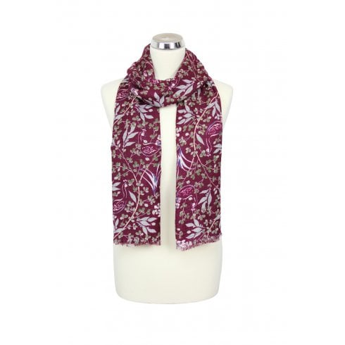 Scattered Peacocks Scarf - Plum