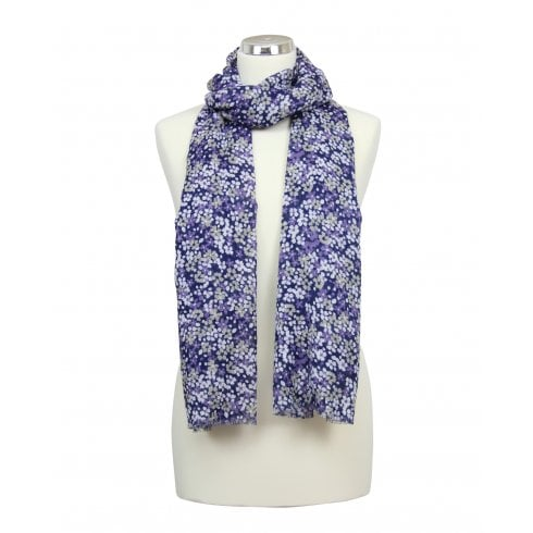 Scattered Petals Design Scarf - Peacoat