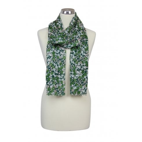 Scattered Petals Design Scarf - Pine